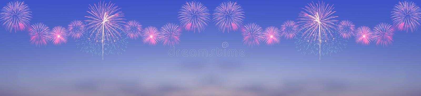 Fireworks on twilight sky stock photography