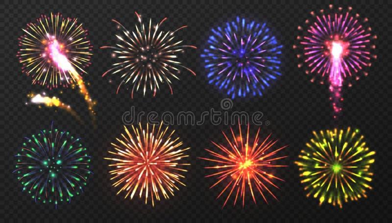 Fireworks Várias explosões multicoloridas de fogos de artifício com faíscas brilhantes Elementos pirotécnicos de Natal Realista ilustração stock
