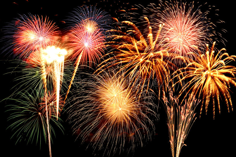 Fireworks Of Various Colors Stock Photos