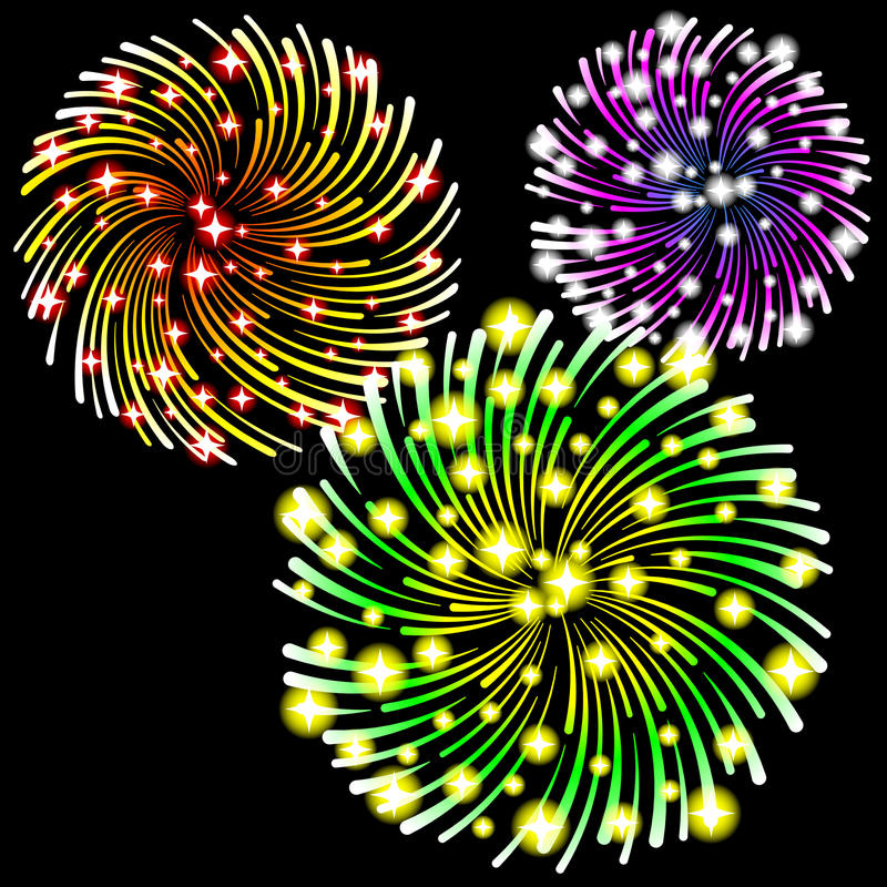 Fireworks. Vector illustration of fireworks on black background stock illustration