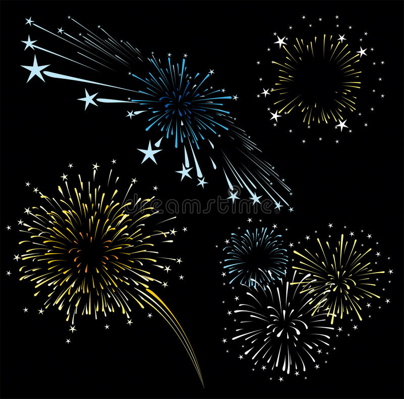 Fireworks vector set. Set of fireworks isolated on black background, vector format very easy to edit, solid colors without gradients royalty free illustration