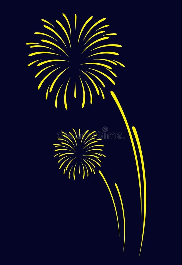 Fireworks vector sign icon on black blue background for celebration design stock illustration