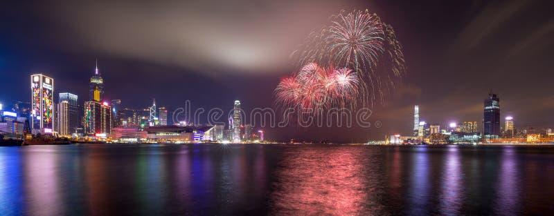 Fireworks at Victoria Harbor of Hong Kong stock photo