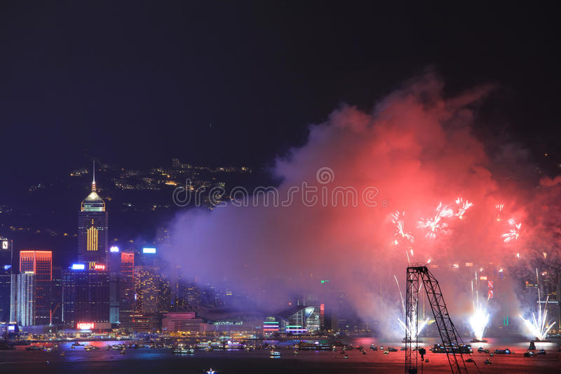 Fireworks at Victoria Harbour, Hong Kong stock photography