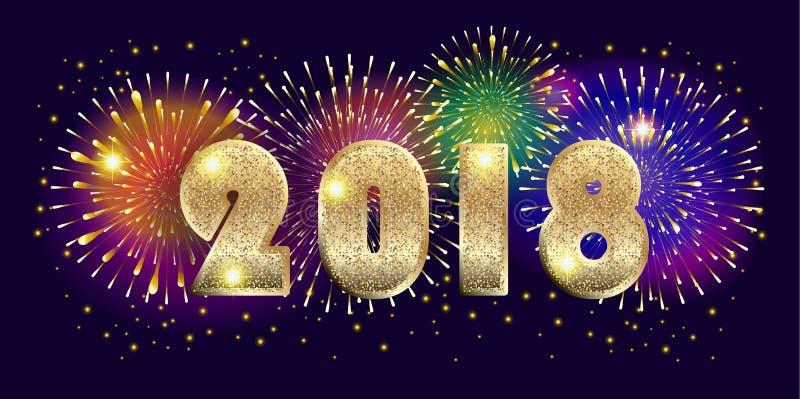 Fireworks 2018 Stock Vector. Illustration Of Festive