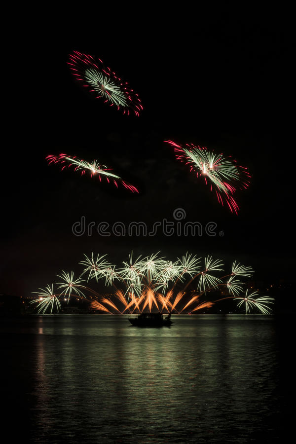 Fireworks on the water - Ignis Brunensis stock image