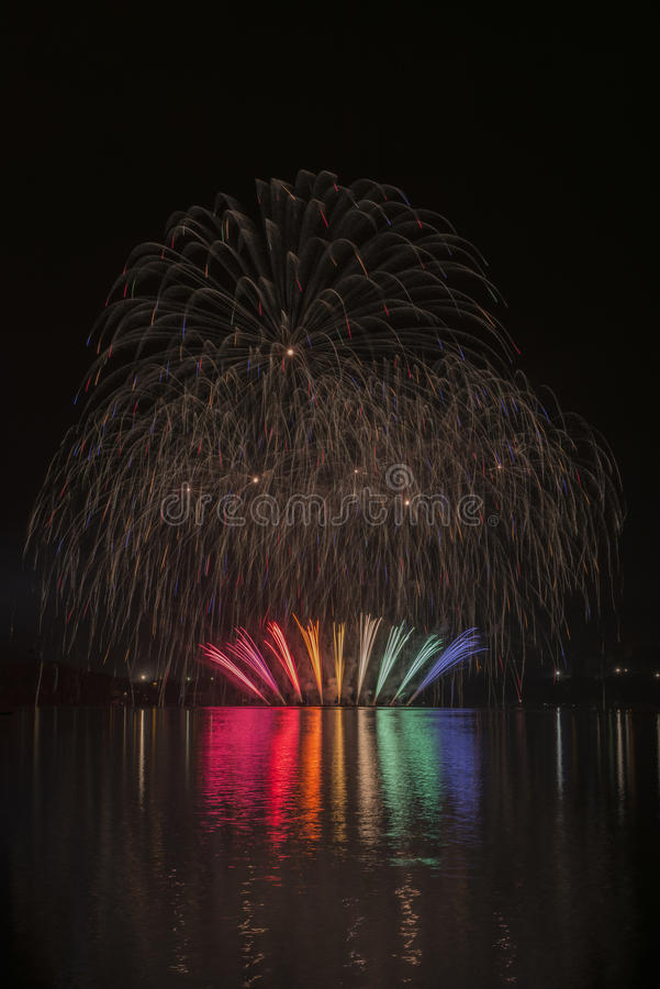 Fireworks on the water - Ignis Brunensis stock photo