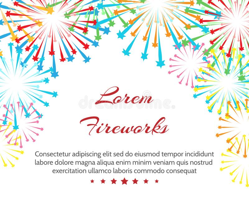 Fireworks wedding background. Vector white pyrotechnics colouring weddings invitation pattern with text vector illustration