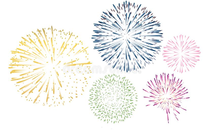 Fireworks on white background. Can be used for celebration, party and new year event . Illustration royalty free stock images