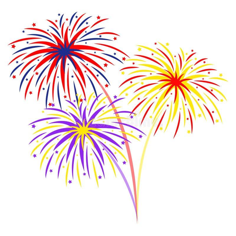 Fireworks On White Background, Illustration Stock Vector ...