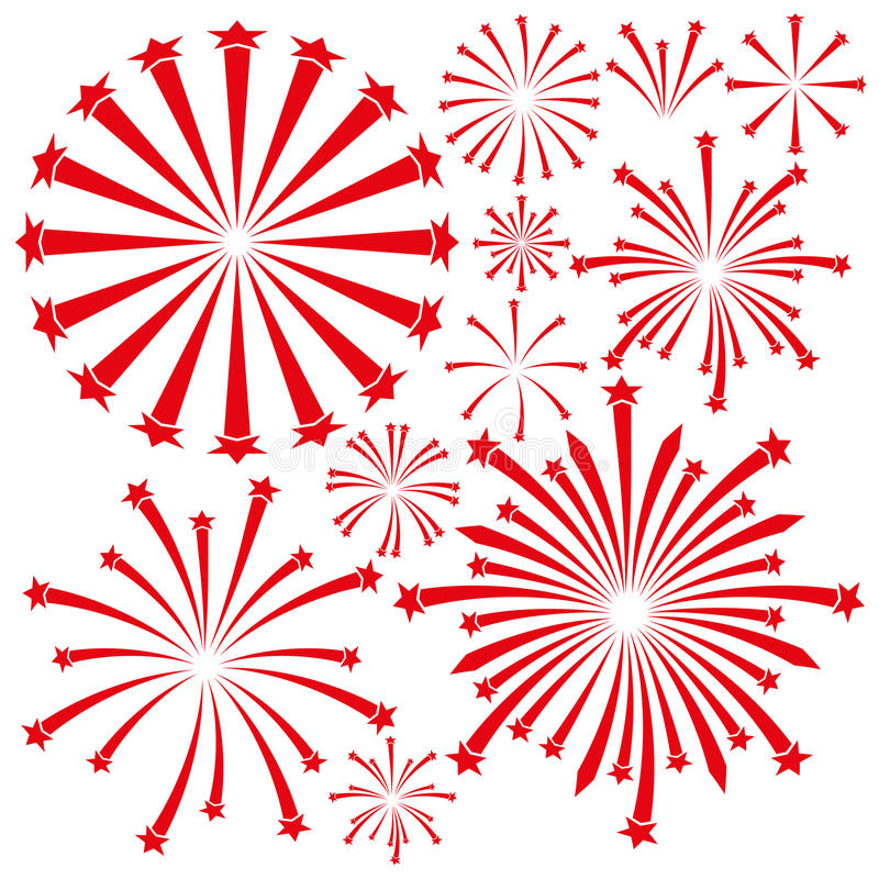 Fireworks On White Background. Stock Vector - Image: 64410663