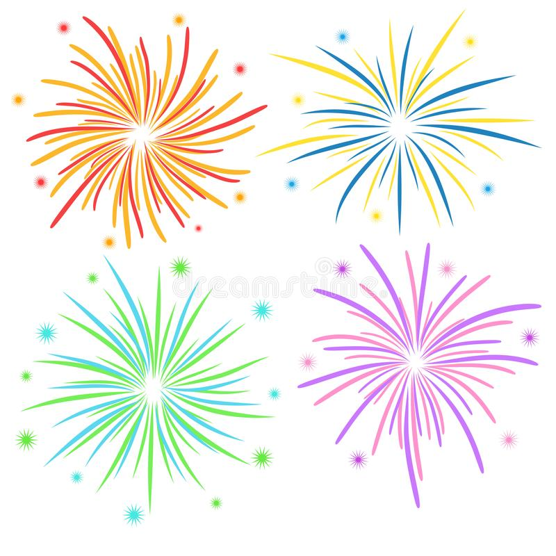 Fireworks on white background, stock vector illustration royalty free illustration
