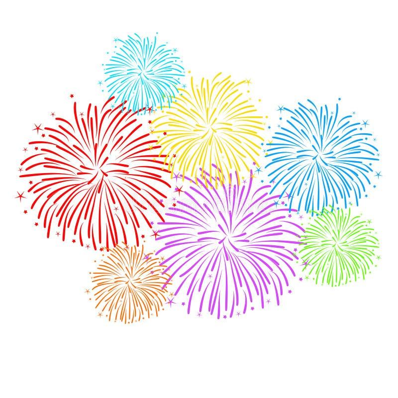 Fireworks On White Background Vector Illustration Stock ...