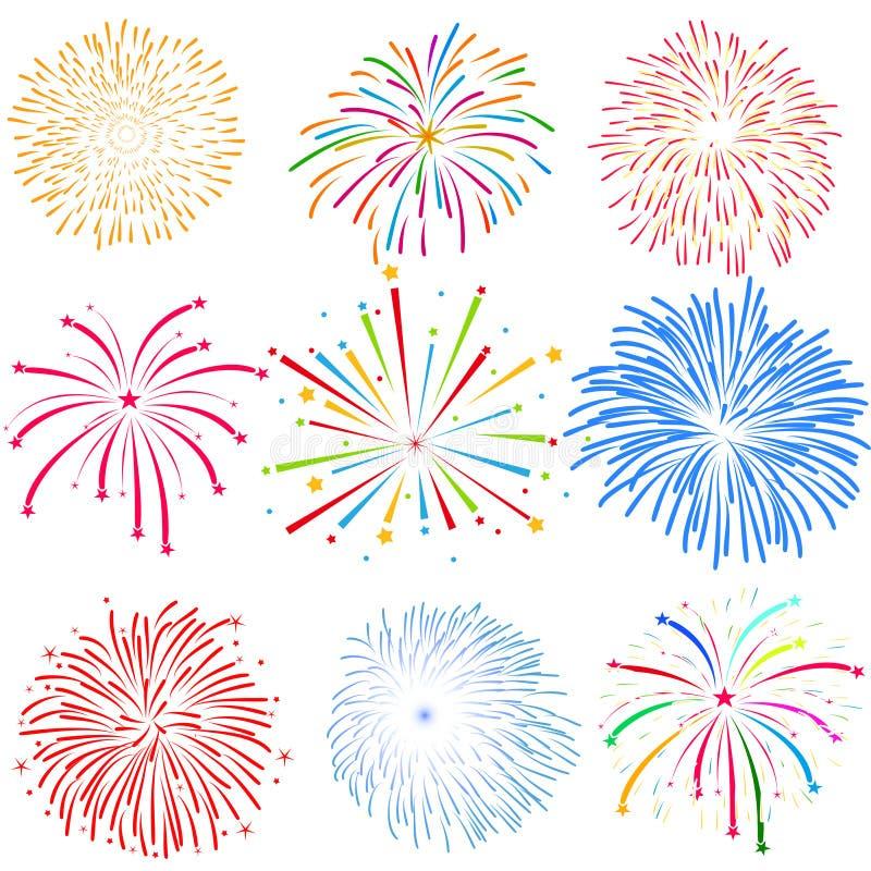 Fireworks on white background vector illustration royalty free stock image