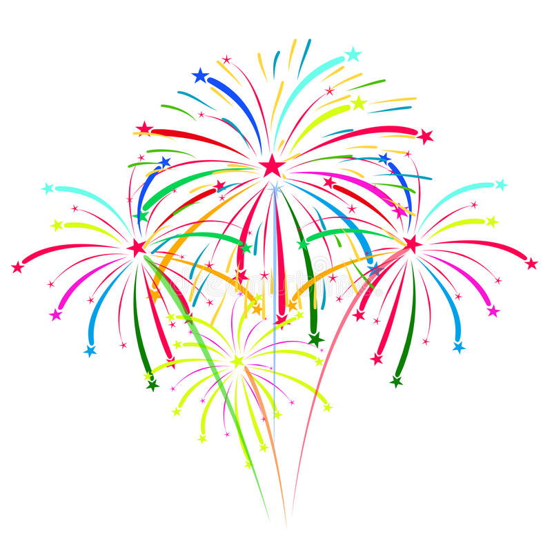 Fireworks on white background vector illustration royalty free illustration