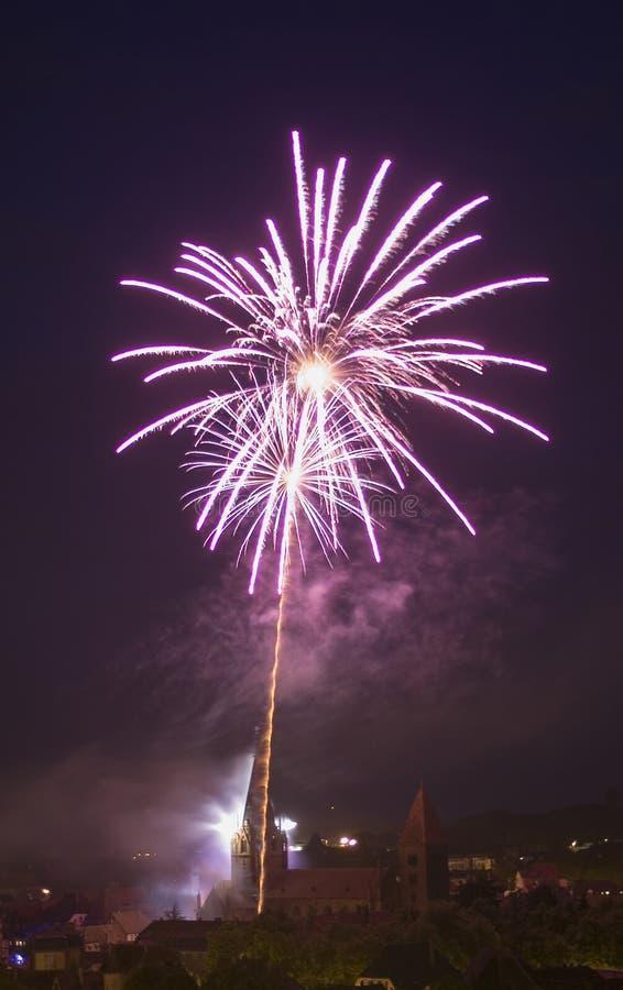 Fireworks on whitsun royalty free stock photos