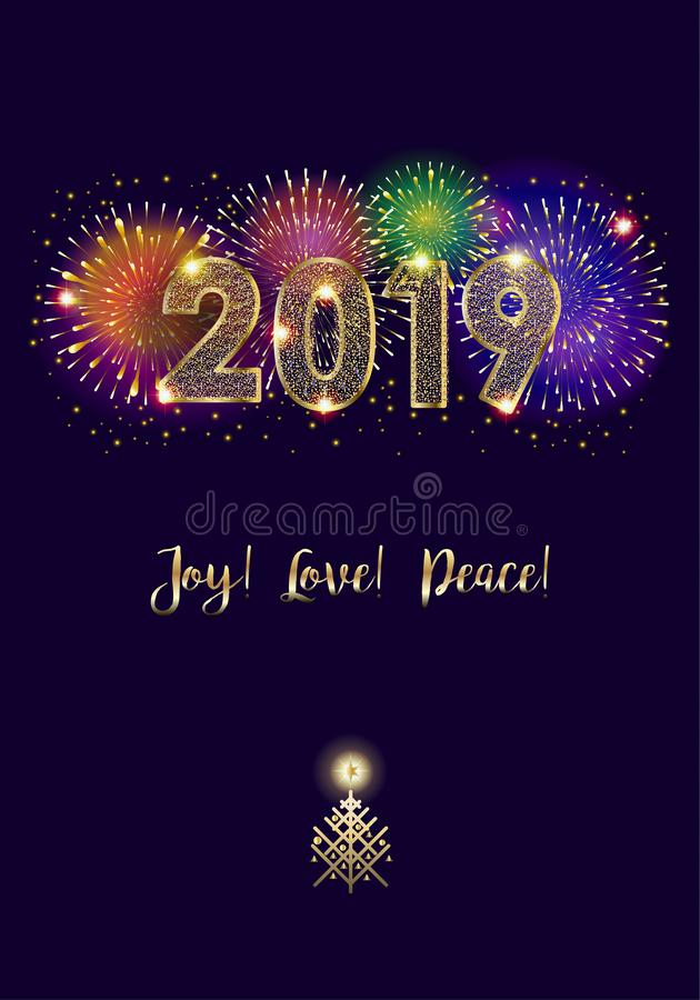 2019 Fireworks Winter Holiday Happy New Year Merry Christmas Decoration vector illustration