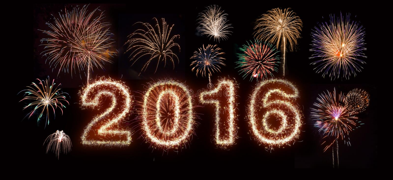 Happy New Year 2016 Fireworks royalty free stock images