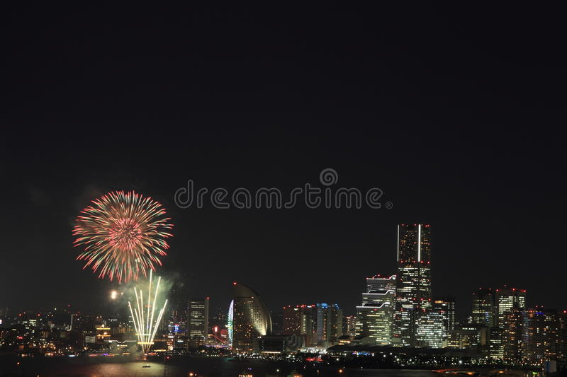 Fireworks at Yokohama royalty free stock photo