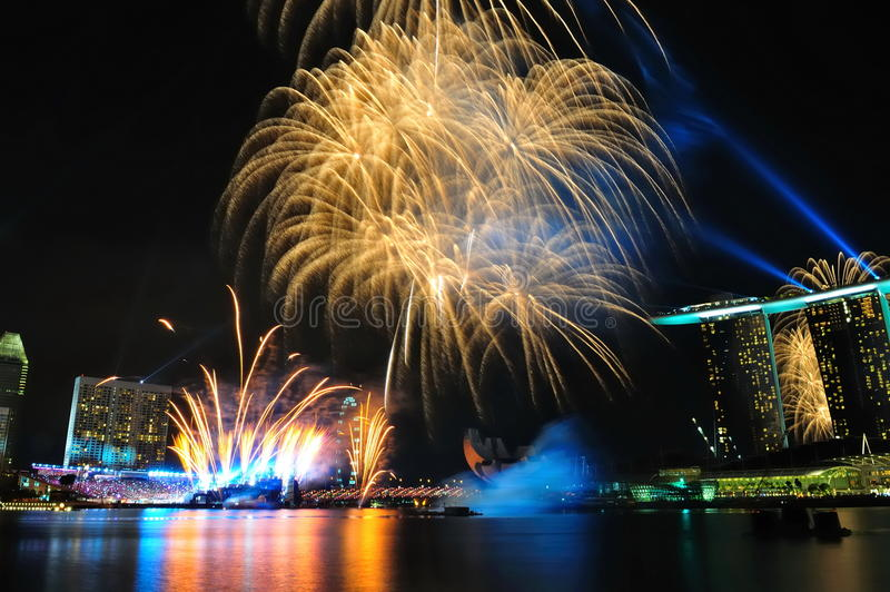 Fireworks during Youth Olympic Games 2010 Opening