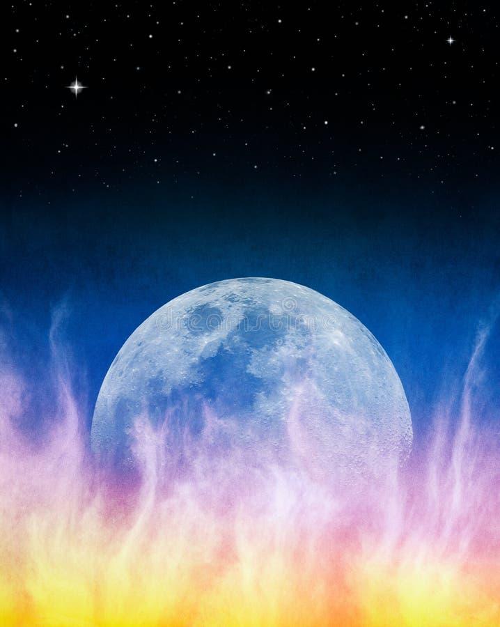 Firey Blue Moonrise royalty free stock photos