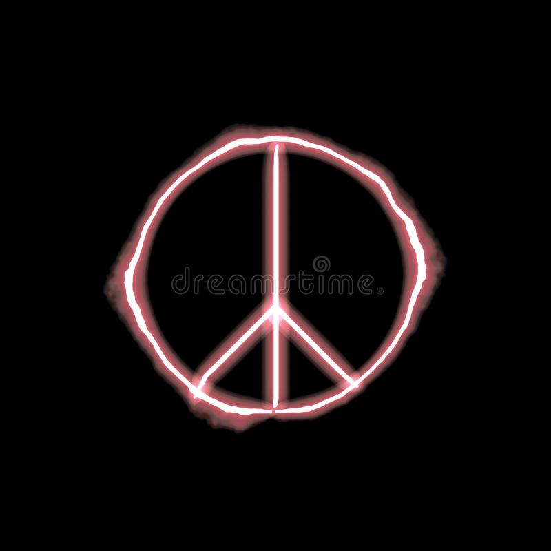 Firey neon peace sign stock illustration