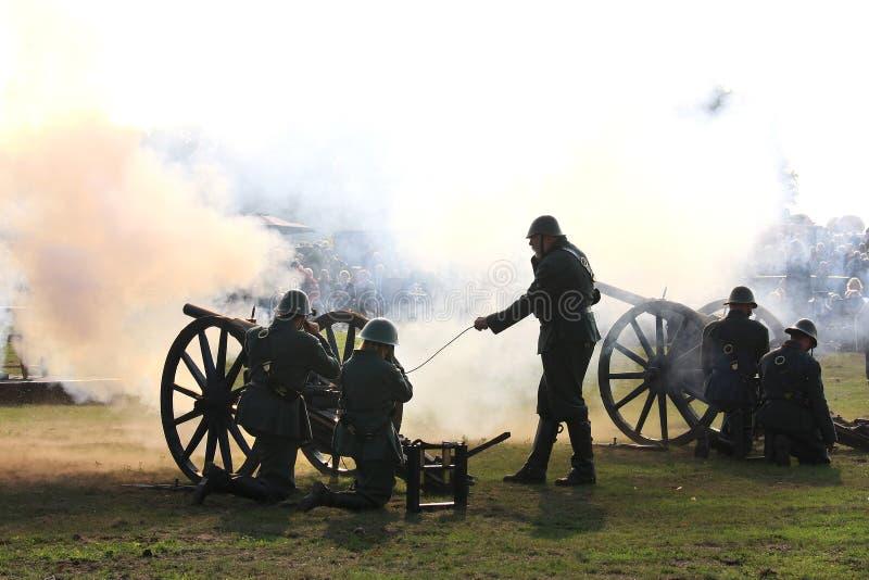 Firing cannons of historic Field Artillery stock photos