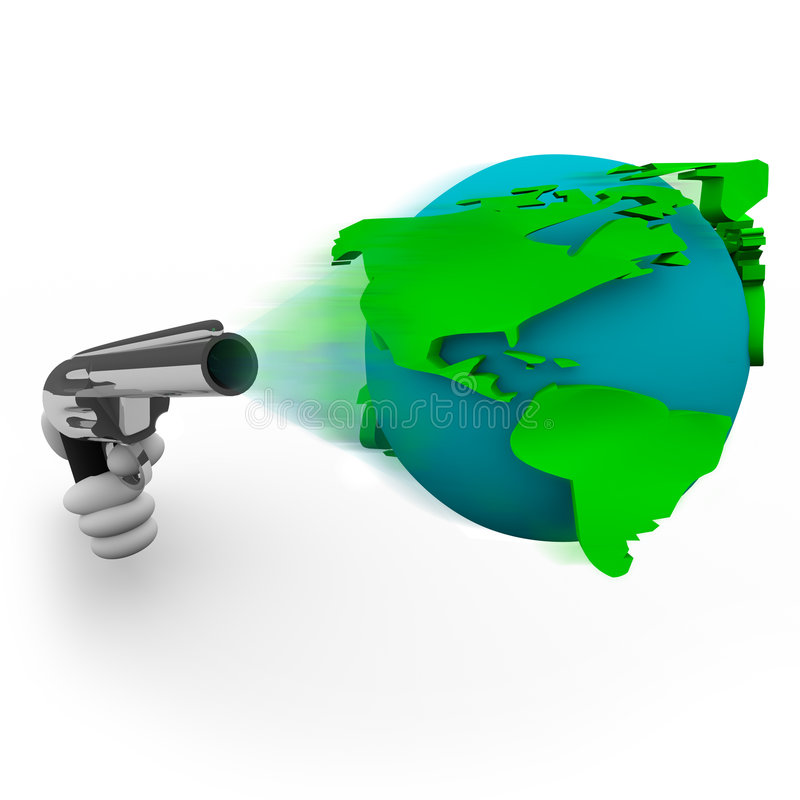 Firing Earth from a Gun. A handgun fires the Earth as a bullet vector illustration