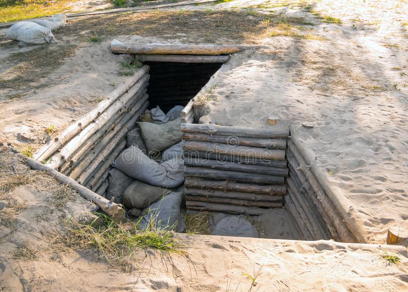 The firing point in the form of a trench with shelter from enemy fire stock photography