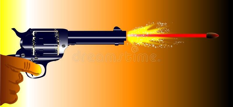 Firing Revolver. A revolver pistol firing with muzzle flash and speeding bullet royalty free illustration