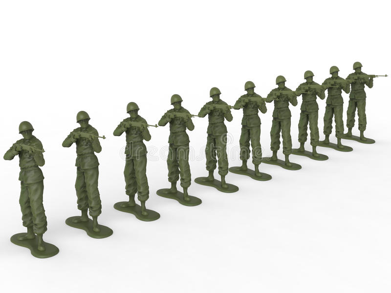 Firing squad of toy soldiers. Isolated on white background royalty free stock photography
