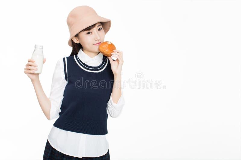 Firl en voedsel en fruit stock foto's