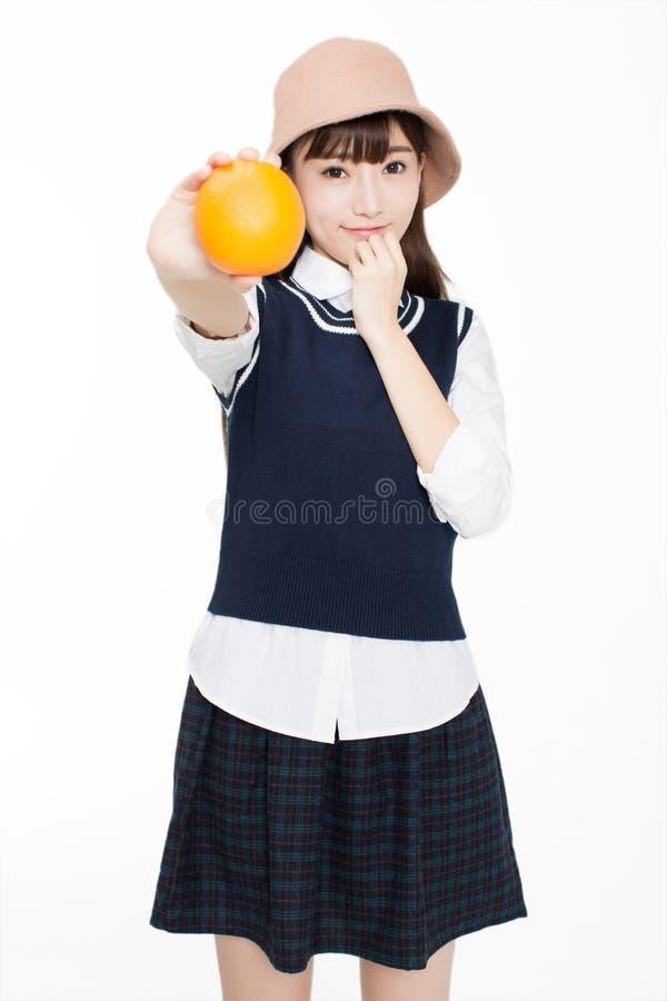 Firl en voedsel en fruit royalty-vrije stock foto's