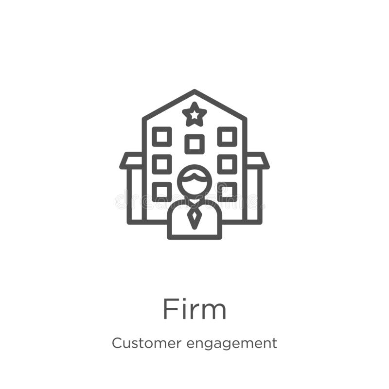 Firm icon vector from customer engagement collection. Thin line firm outline icon vector illustration. Outline, thin line firm. Firm icon. Element of customer vector illustration