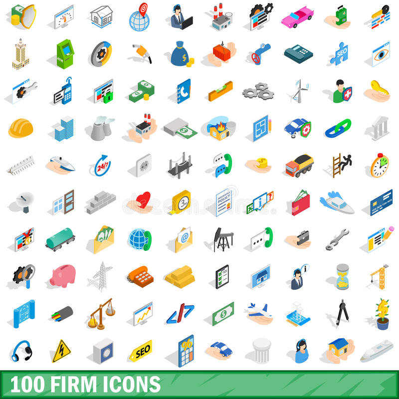 100 firm icons set, isometric 3d style. 100 firm icons set in isometric 3d style for any design vector illustration stock illustration