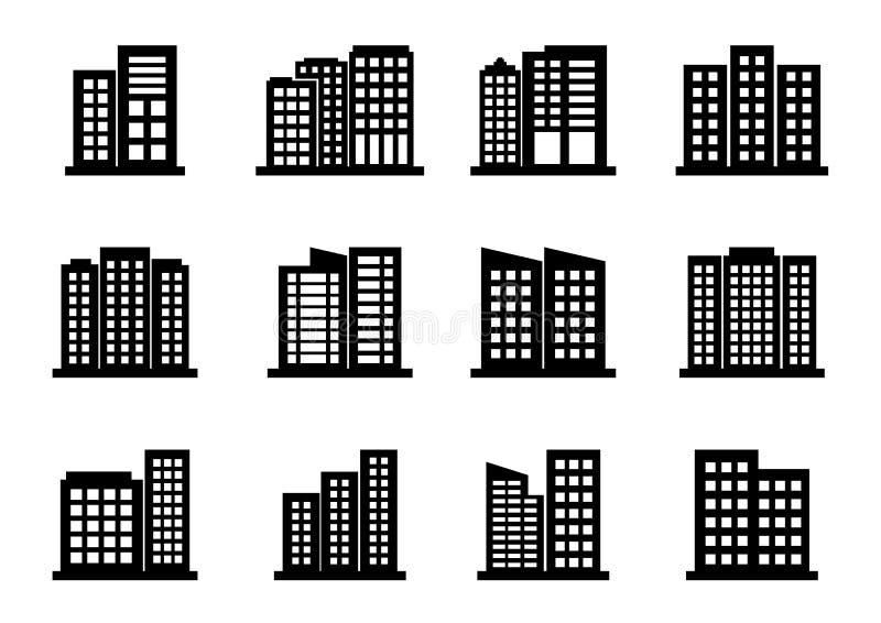 Firm ikony ustawiać na białym tle, Czarnego budynku wektorowa kolekcja, Odosobniona biznesowa ilustracja ilustracji