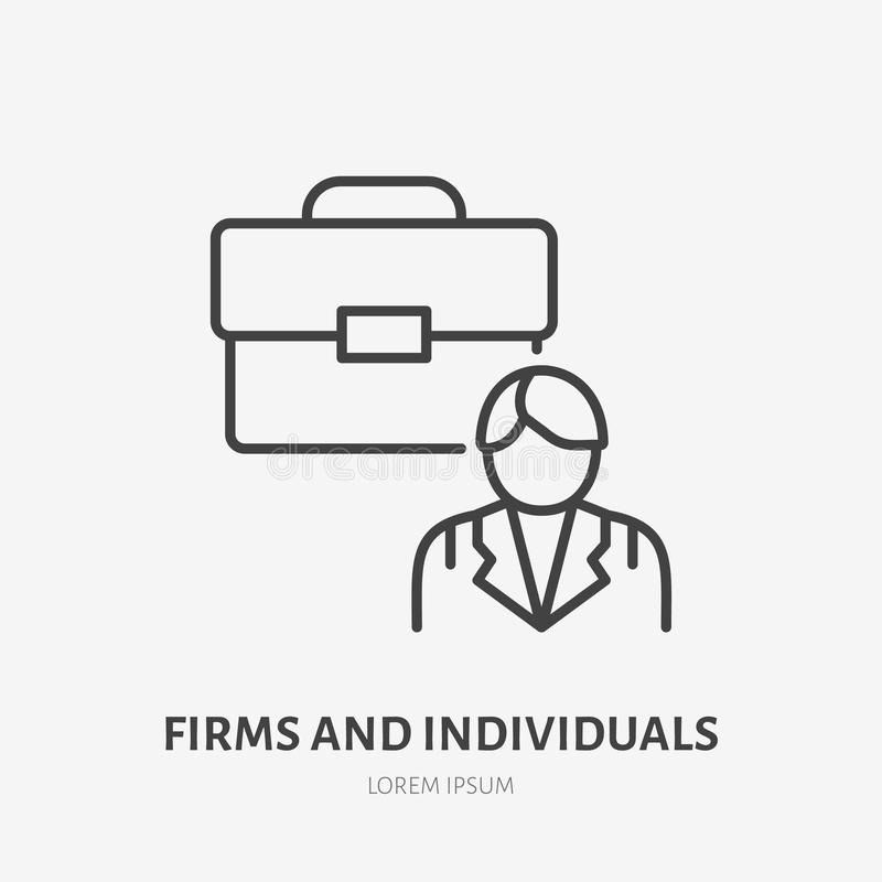 Firm and individuals flat line icon. Businessman with briefcase sign, business illustration. Thin linear logo for legal royalty free illustration