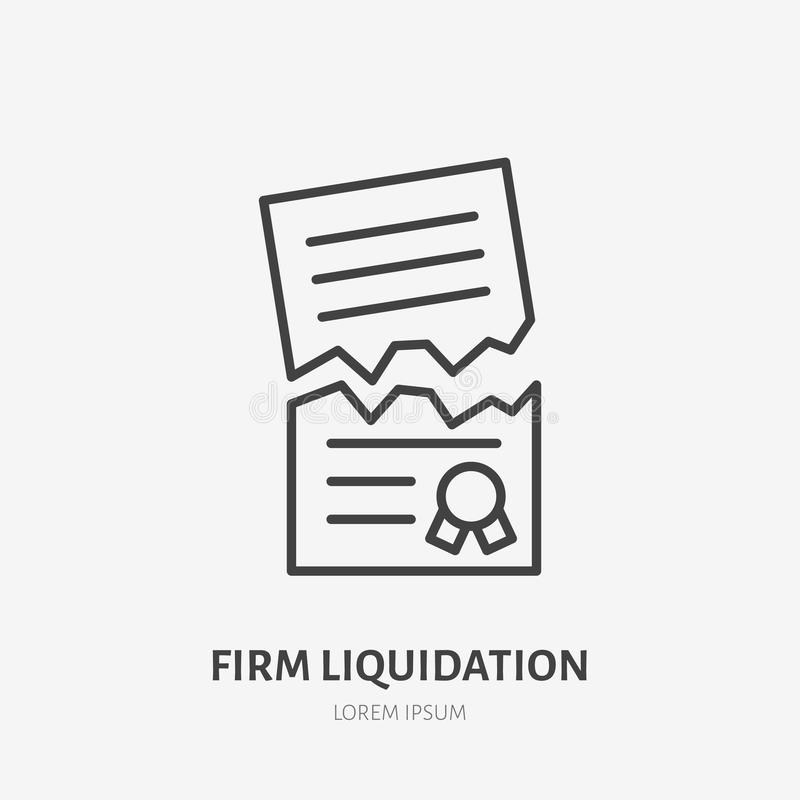 Firm liquidation flat line icon. Agreement cancellation, torn paper sign. Thin linear logo for legal financial services. Attorney royalty free illustration