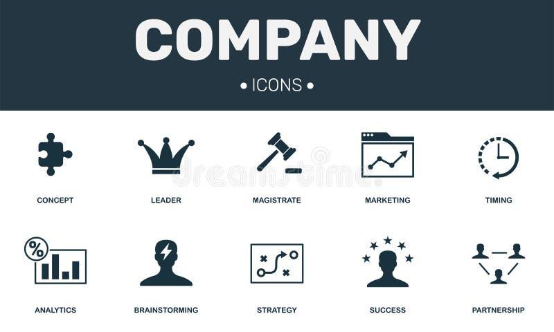 Firm ustalone ikony inkasowe Zawiera prostych elementy tak jak lidera, Brainstorming, partnerstwa, sukcesu i analityka premia, ilustracja wektor