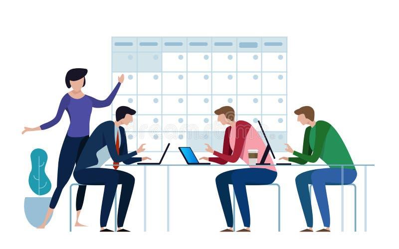 Firma biznesu drużyna pracuje wpólnie planować ich operaci agendę na dużym kalendarzu planować i Mieszkanie styl ilustracja wektor