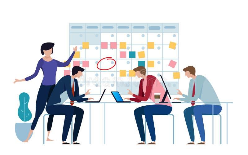 Firma biznesu drużyna pracuje wpólnie planować ich operaci agendę na dużym wiosny biurka kalendarzu planować i royalty ilustracja