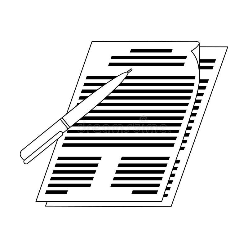Firma de documentos Solo icono del agente inmobiliario en web del ejemplo de la acción del símbolo del vector del estilo del esqu ilustración del vector