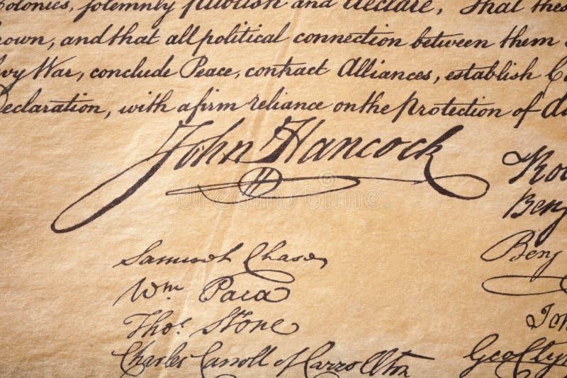 Firma de Juan Hancock imagen de archivo libre de regalías