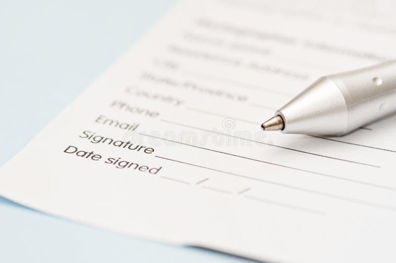 Firma de la carta comercial fotografía de archivo libre de regalías