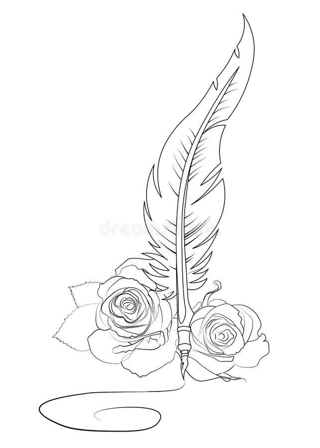 Firma de la pluma y de las rosas libre illustration
