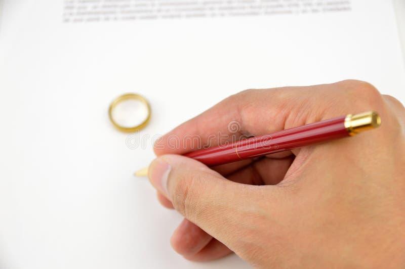 Firma del divorzio immagine stock libera da diritti