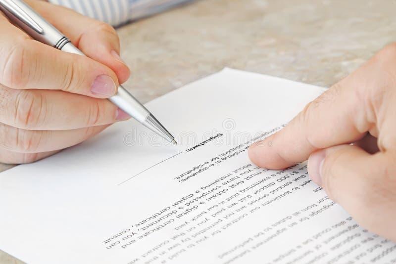 Firma del documento immagini stock