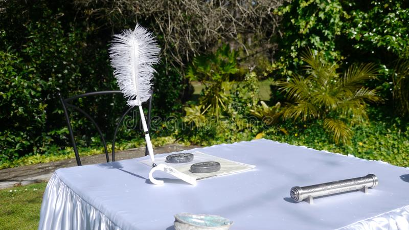 Firma del registro di matrimonio o del libro di ospite fotografia stock