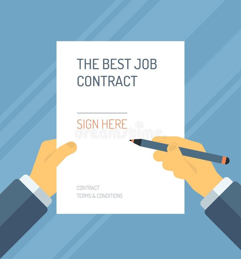 Firma dell'illustrazione piana della forma del contratto illustrazione vettoriale