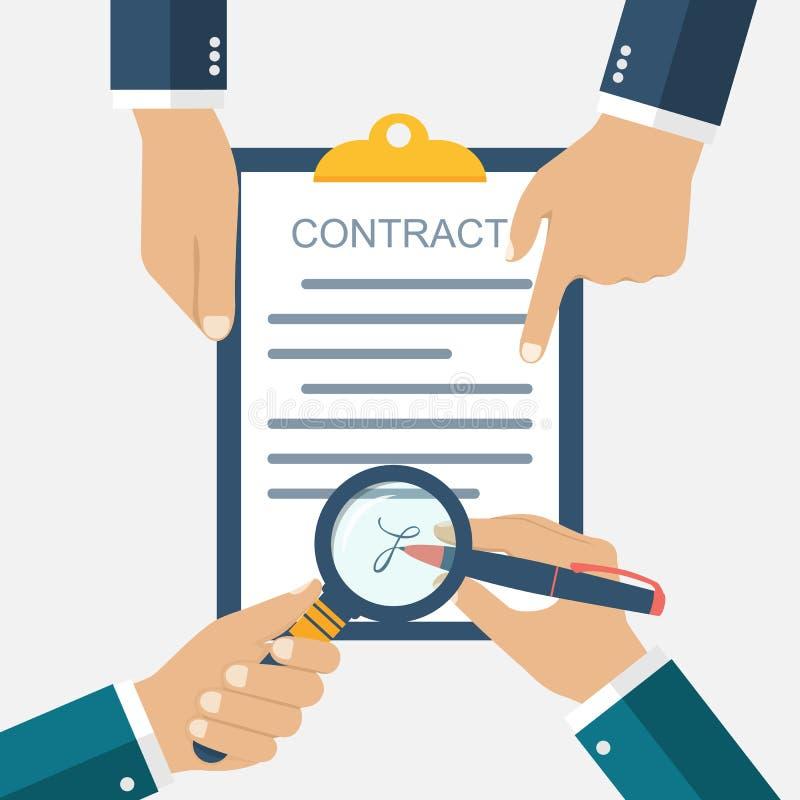 Firma di un contratto di affari di trattato illustrazione vettoriale